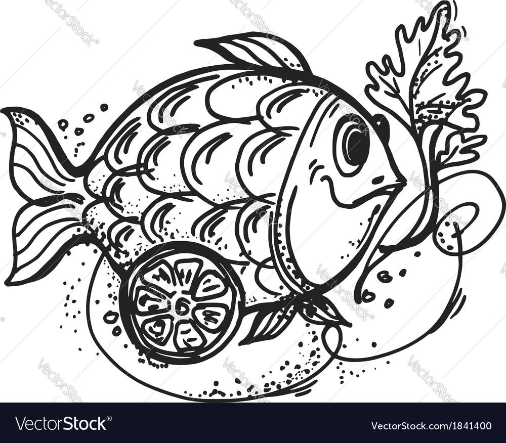 Fish dish with lemon vector