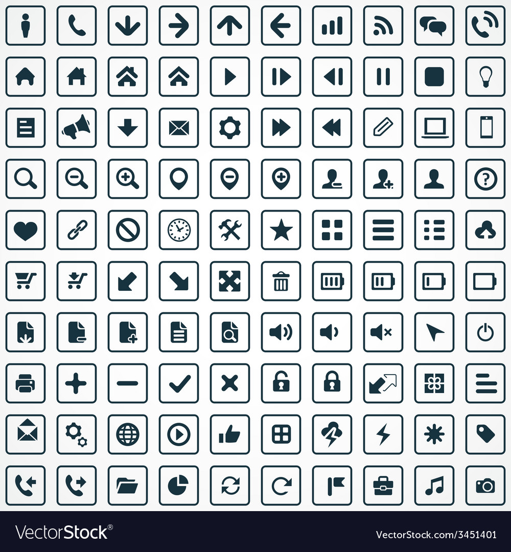 100 ui icons for web and mobile vector