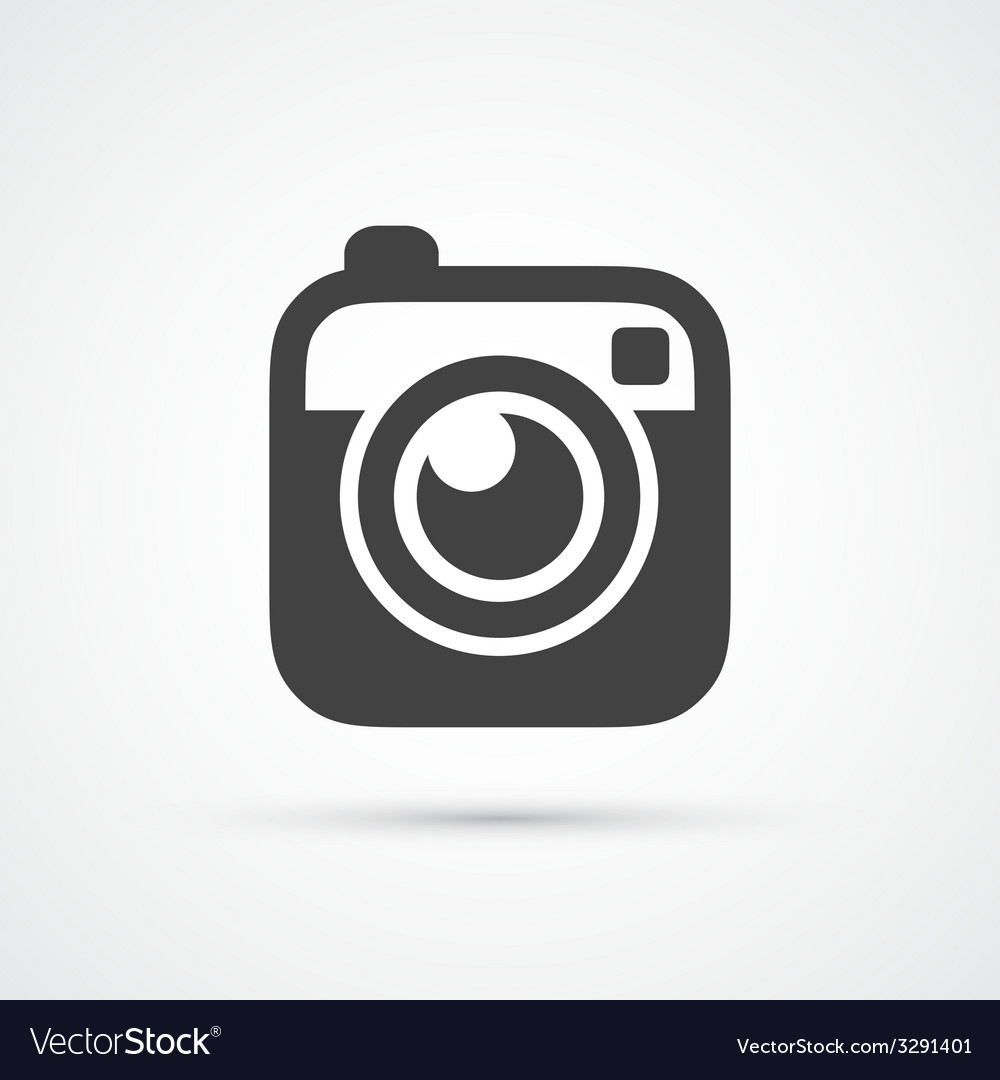 Trendy flat hipster camera photo icon vector