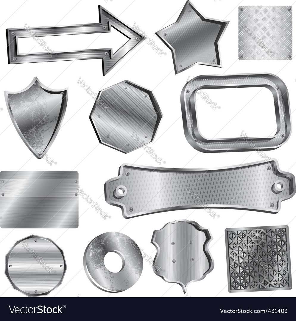 Shiny metal labels and badges vector
