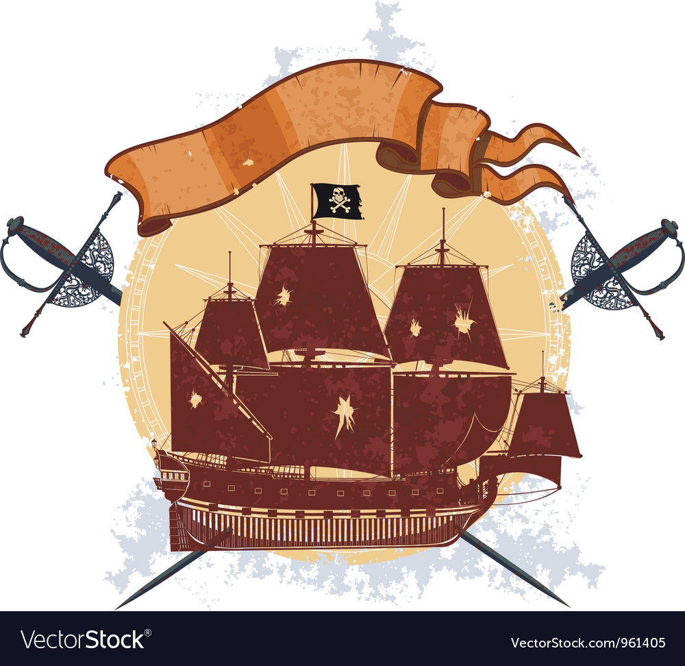 Pirate ship and a badge with sabers vector