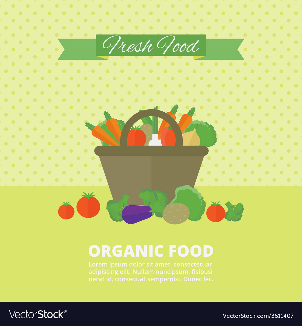 Banner card with fresh fruits and vegetables vector