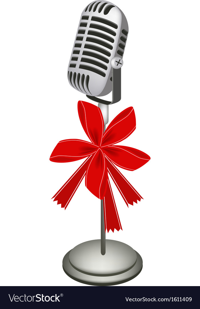 A beautiful retro microphone stand with red ribbon vector