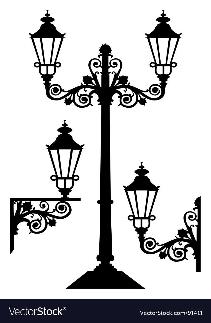 Antique street lights vector