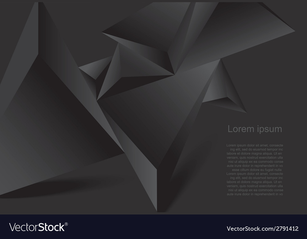 Abstract black background geometrical polygonal fo vector