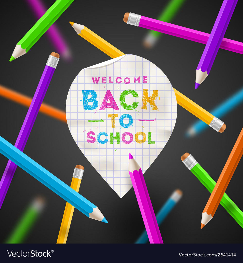 Back to school - paper map pointer and pencils vector
