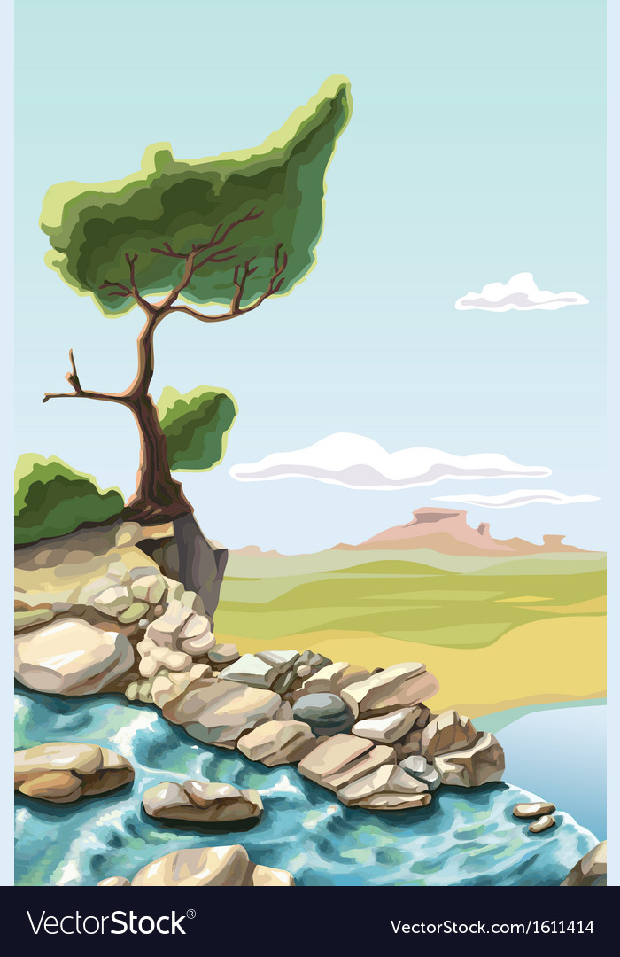 Tree above the waterfall vector