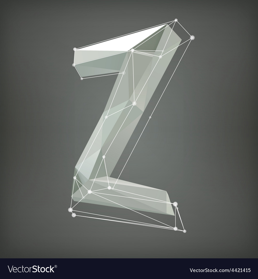 Low poly alphabet  letter vector