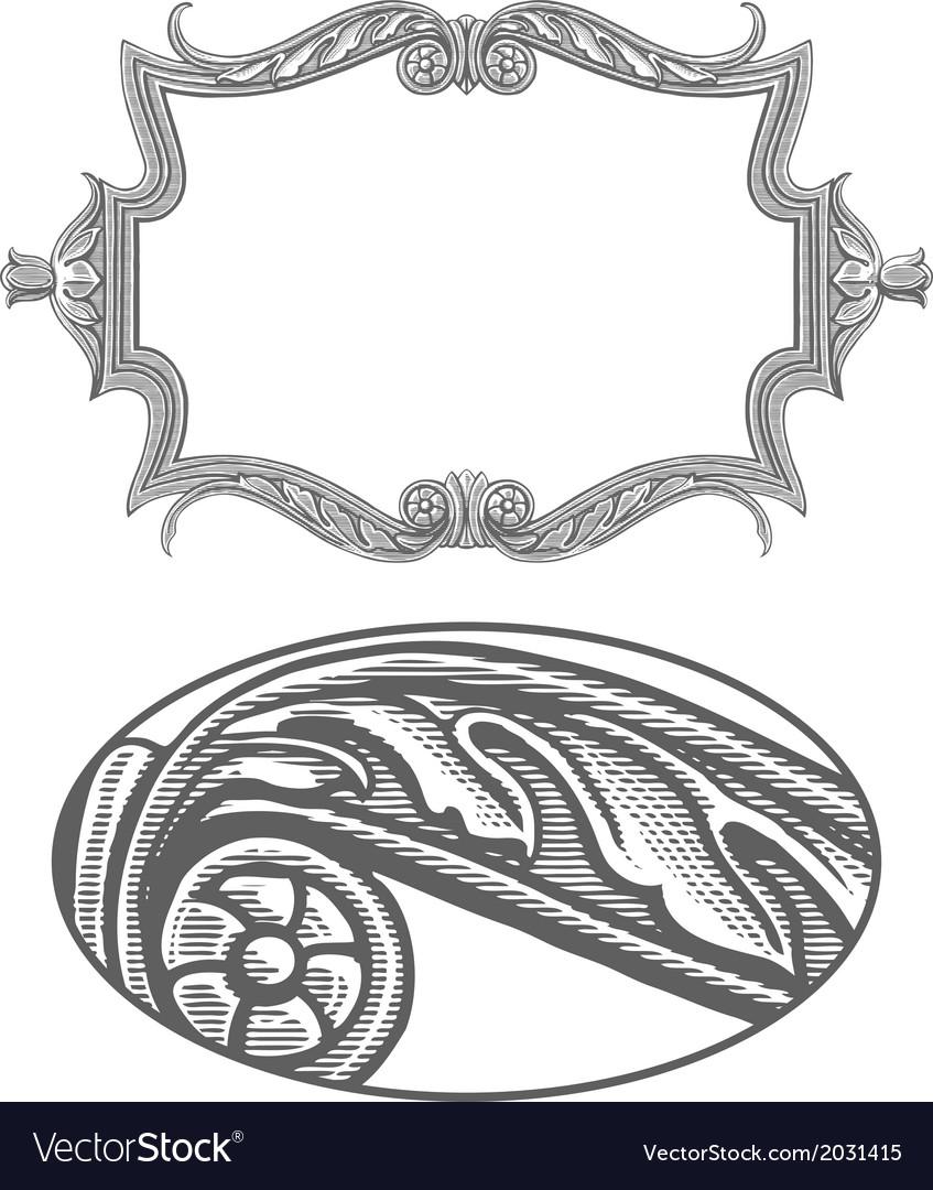 Ornate frame in vintage engraving style vector