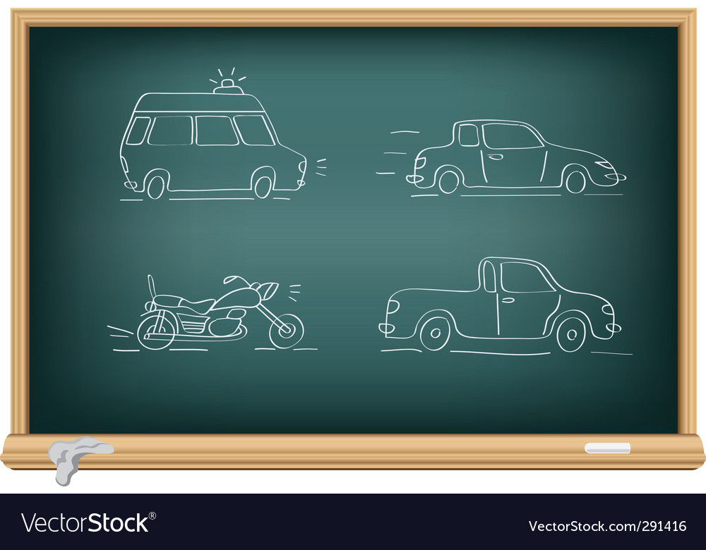 Drawing cars by a chalk vector