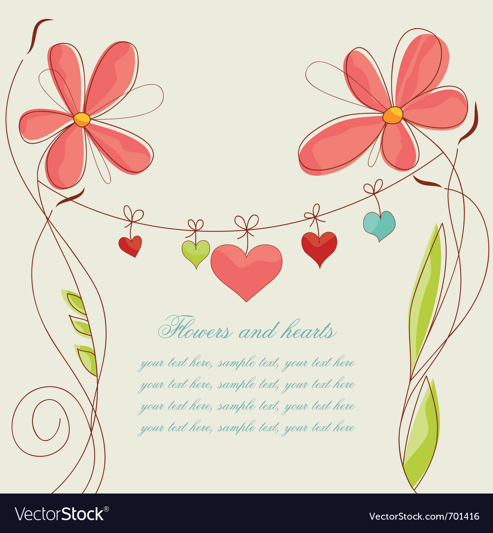 Flowers and hearts vector