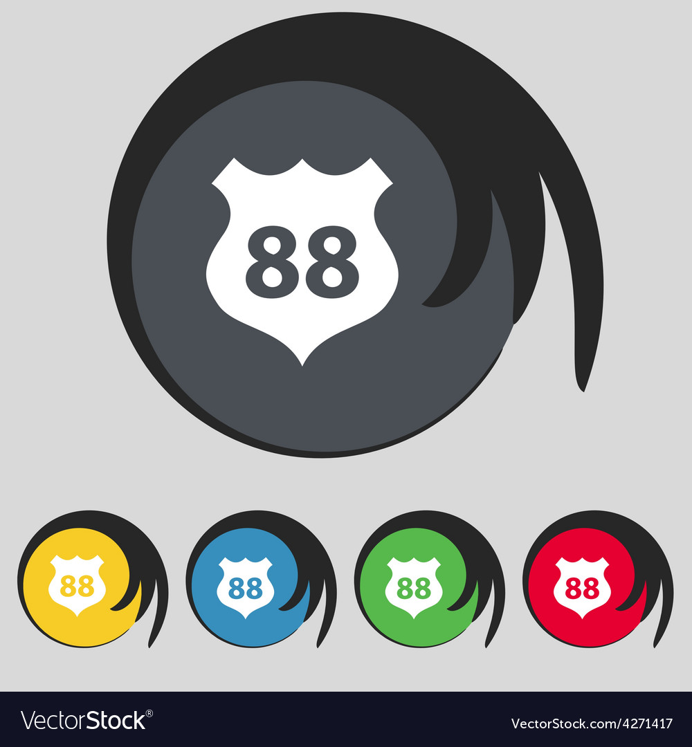 Route 88 highway icon sign symbol on five colored vector