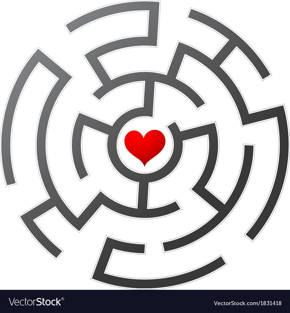 Love maze vector