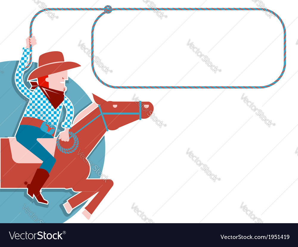 Cowboy with lasso on horse vector