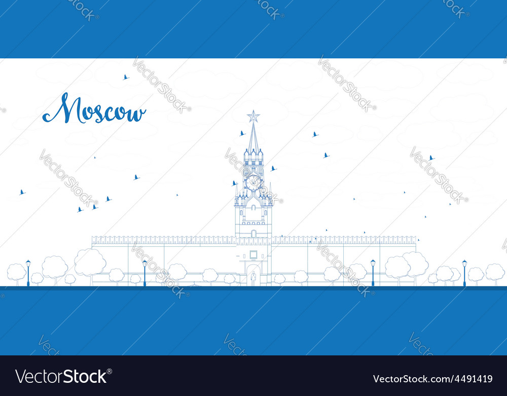 Kremlin spasskaya tower outline vector