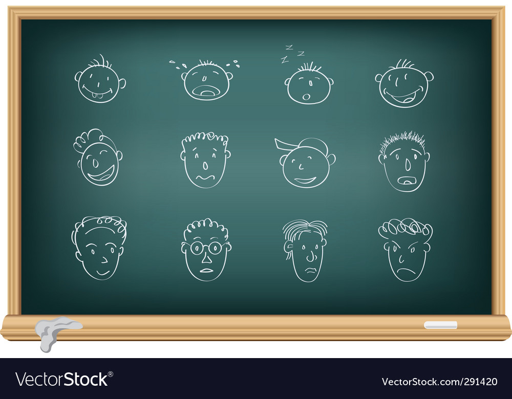 Drawing faces by a chalk vector