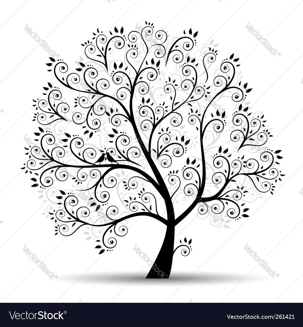 Art tree beautiful black silhouette vector