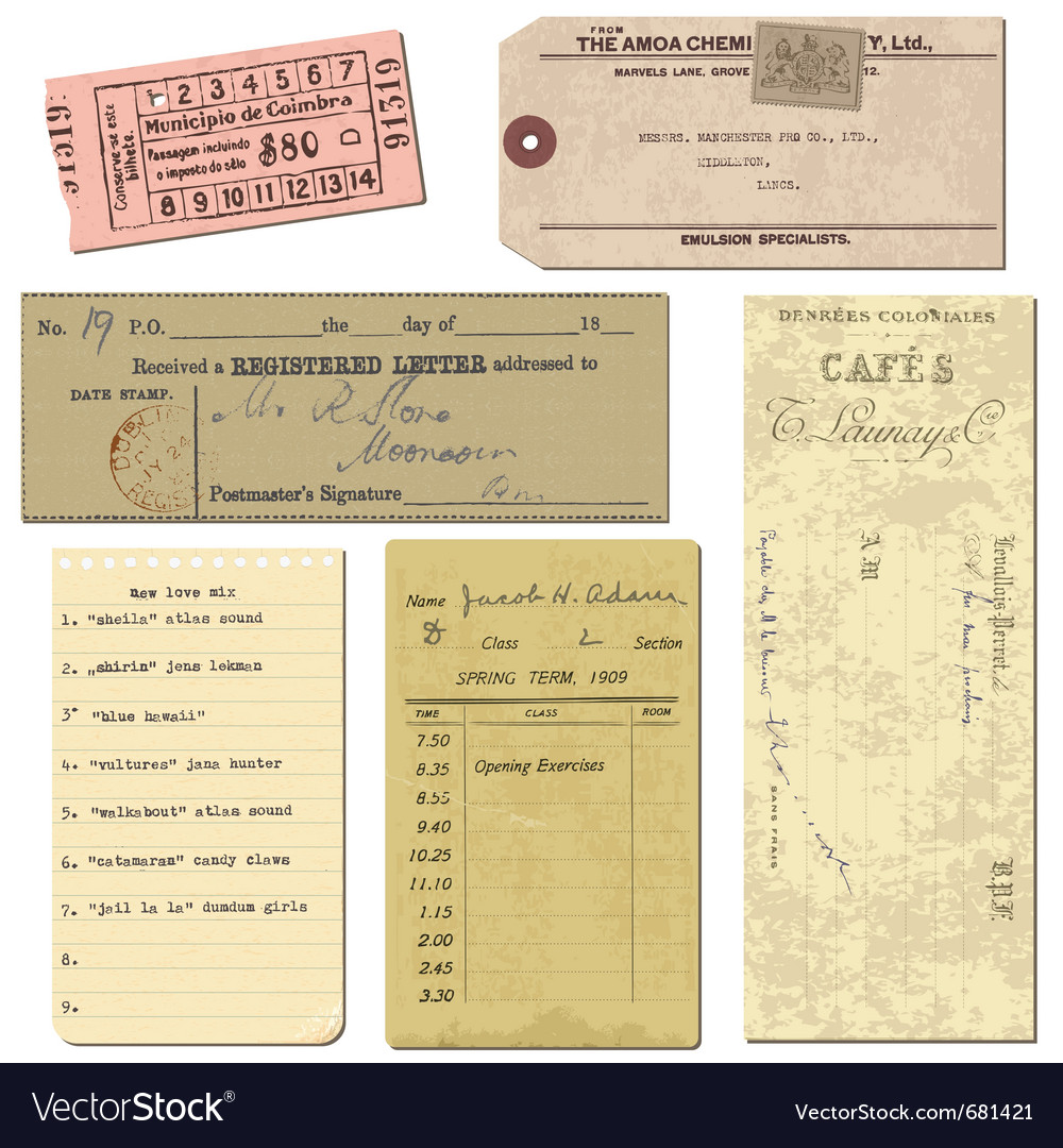 Vintage paper ticket elements vector