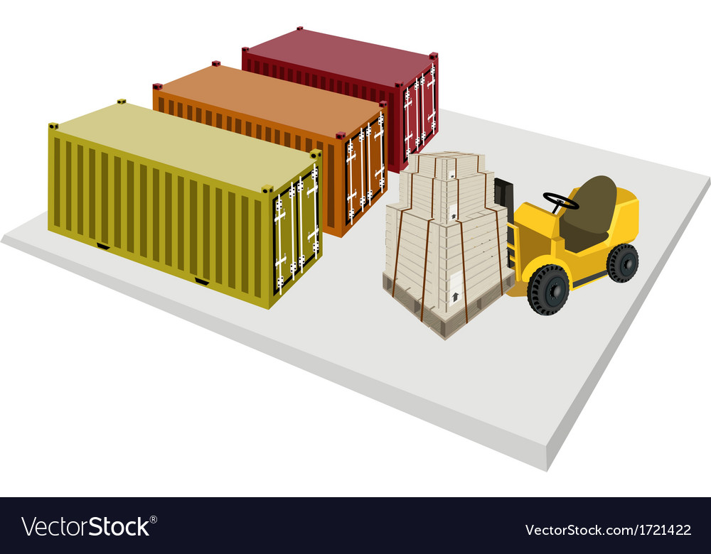 Forklift loading shipping boxes vector