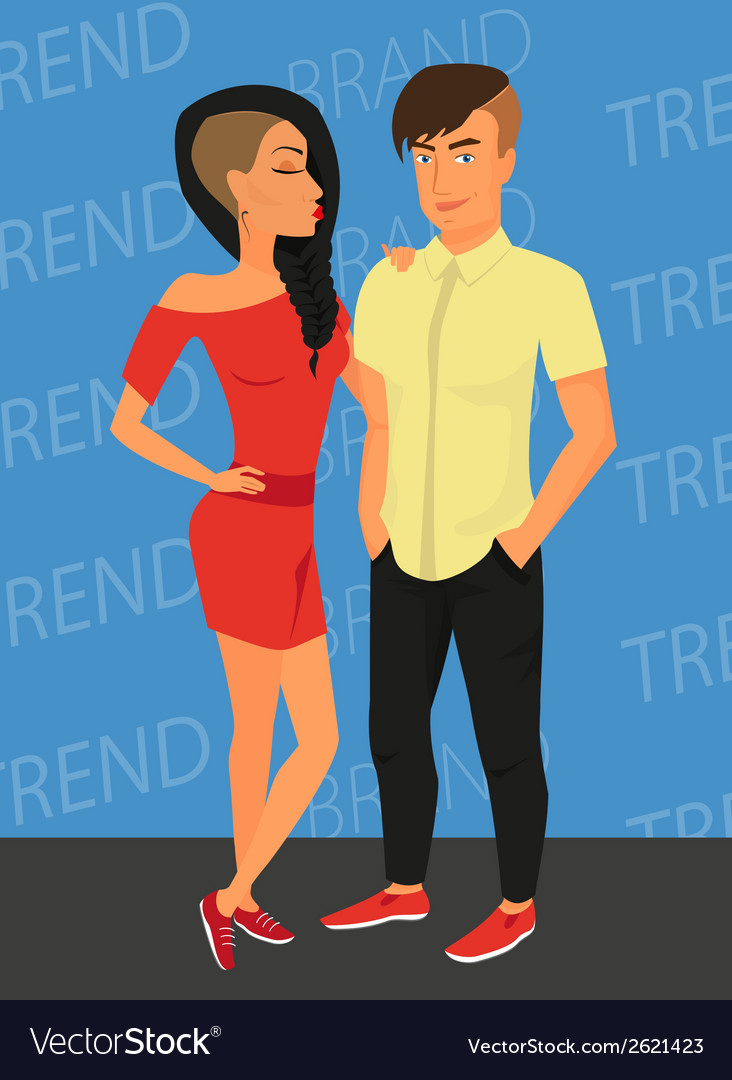Hipster guy and his sensual girlfriend wearing vector