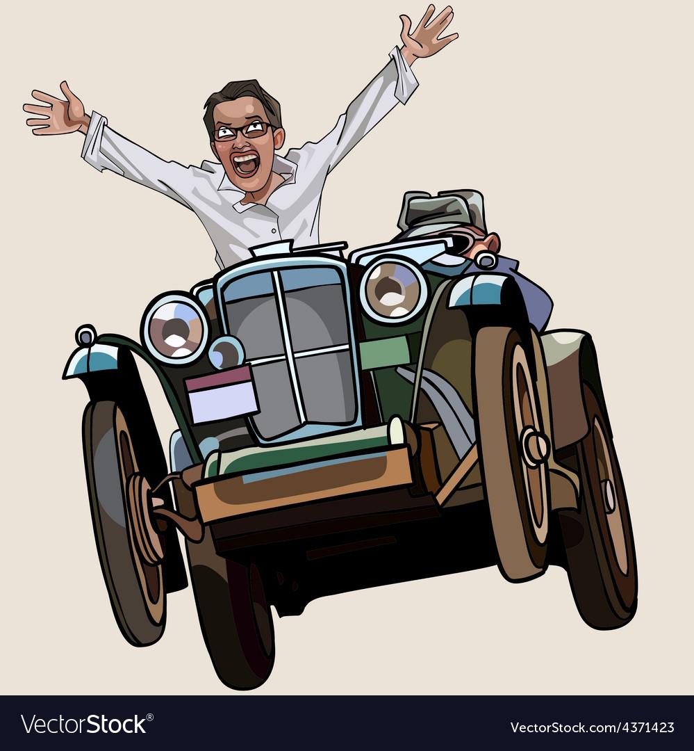 Man on the retro car enthusiastically rejoices vector