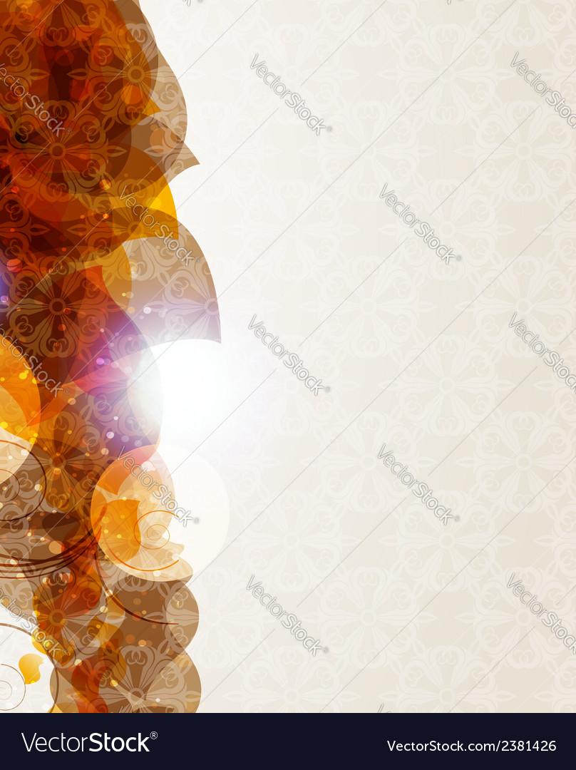Beige background with petals pattern vector