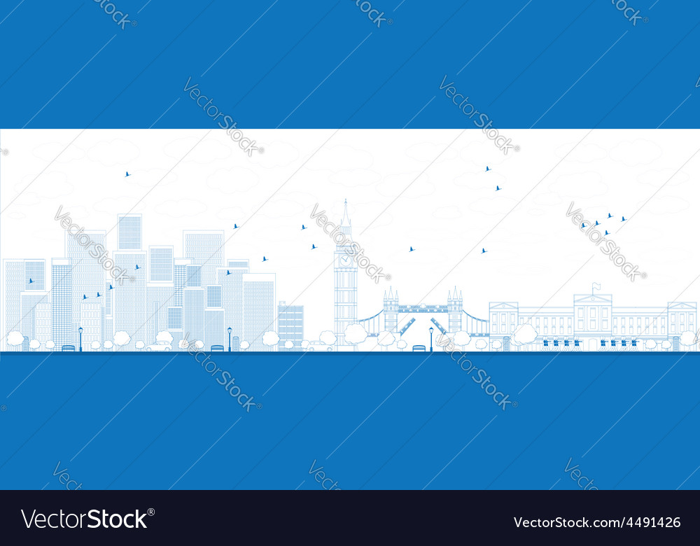 Outline london skyline vector