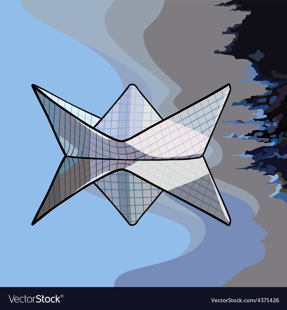 Paper boat on the water vector