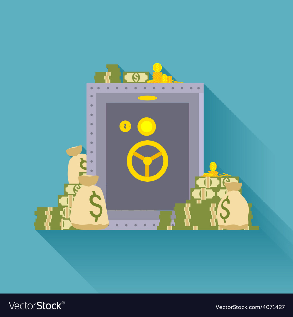 Metal safe storage golden coins and bags of money vector