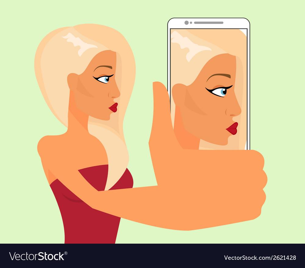 Selfie of blond sensual girl vector