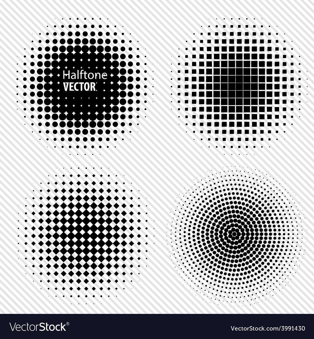 Set of black abstract halftone circles logo vector