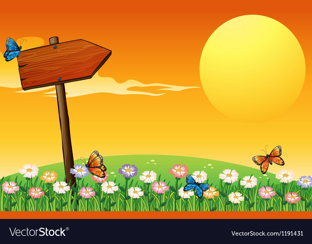 A sunset scenery with a wooden arrow vector