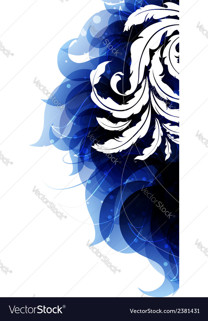 Blue petals and vintage pattern vector