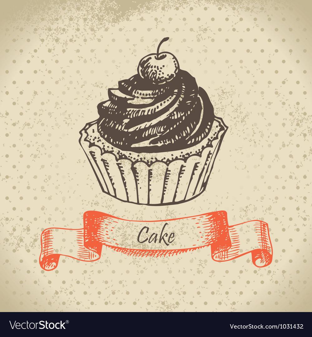 Cake hand drawn vector