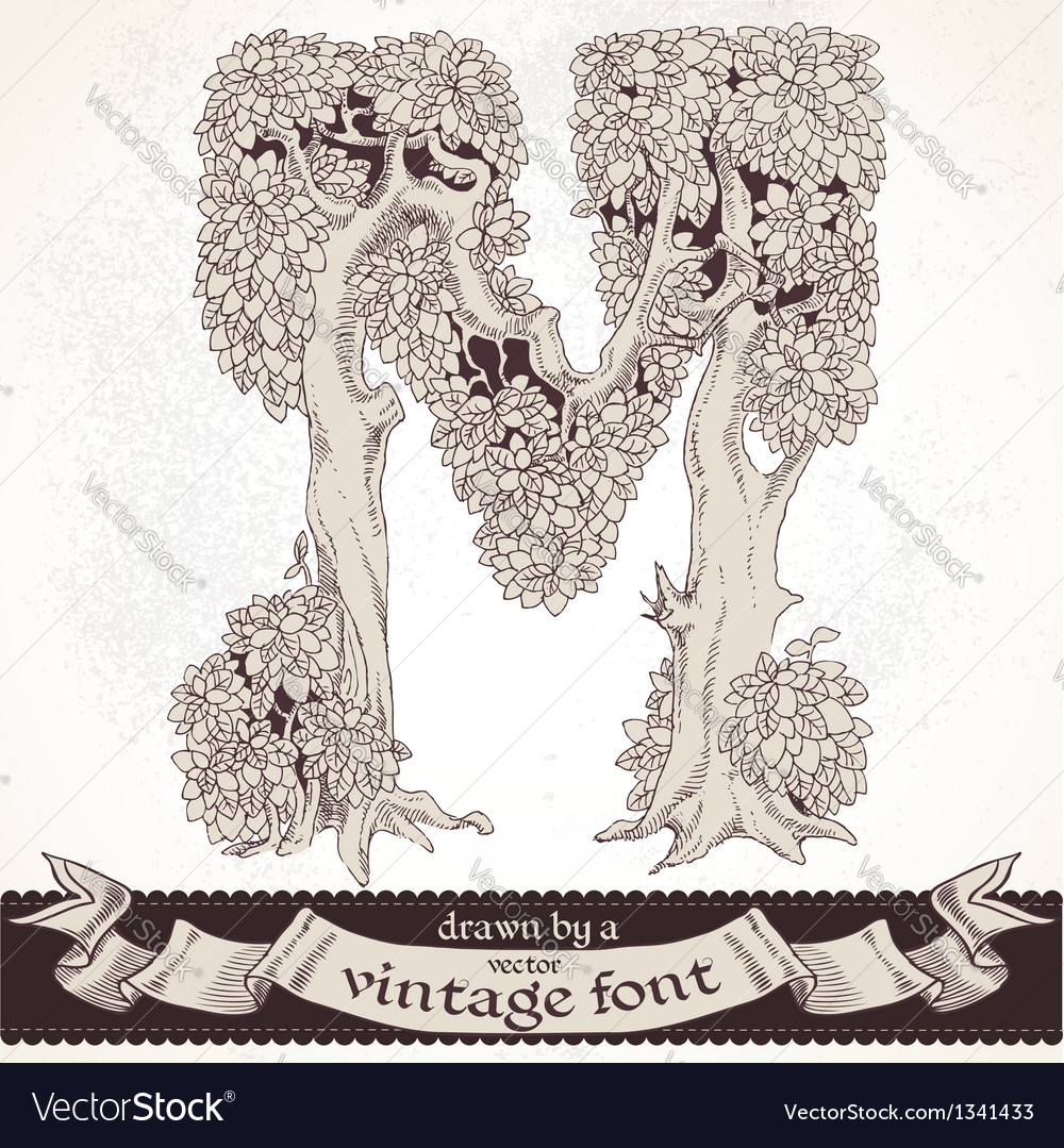 Fable forest hand drawn by a vintage font - m vector