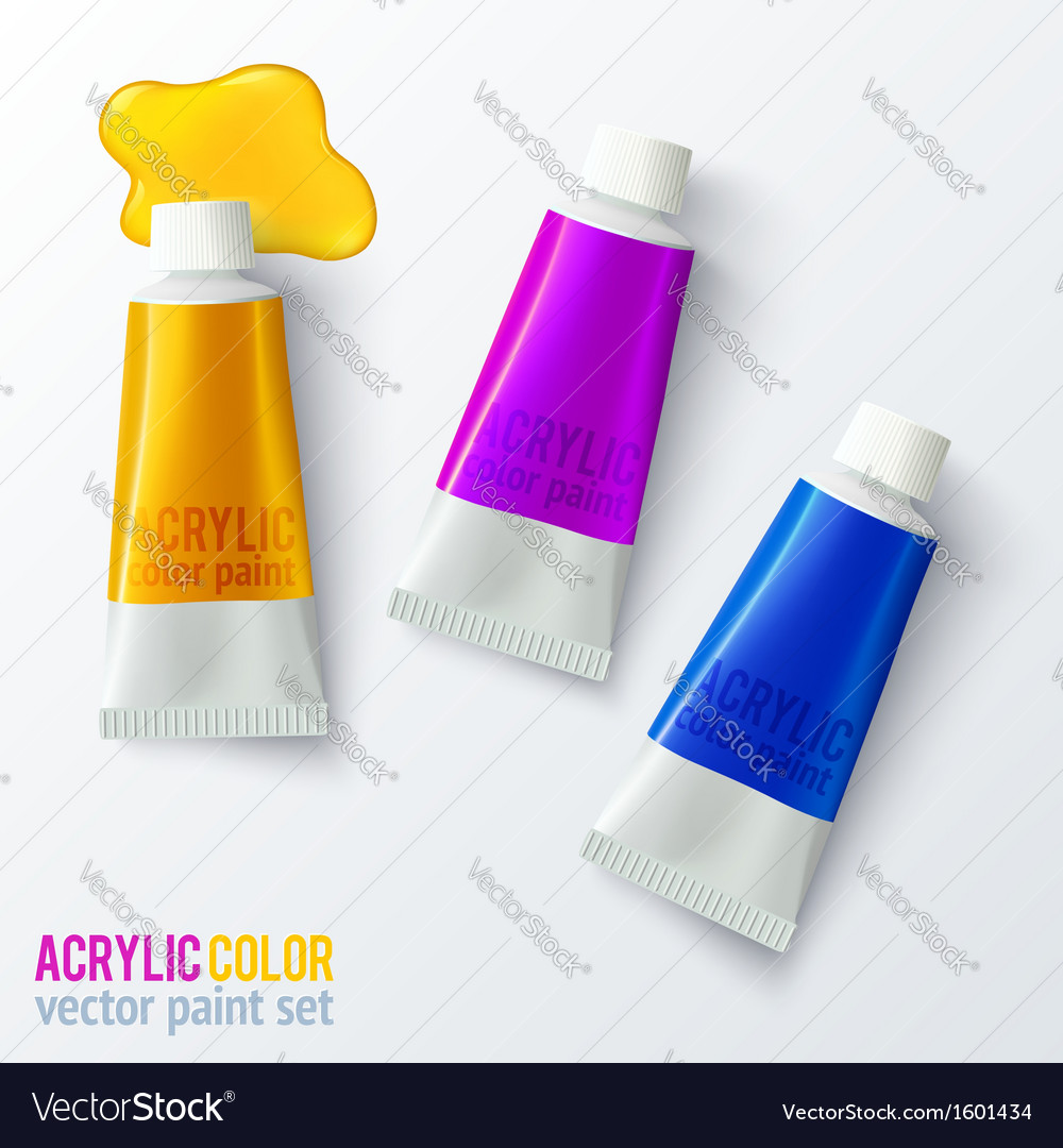 Set of colorful paint tubes vector