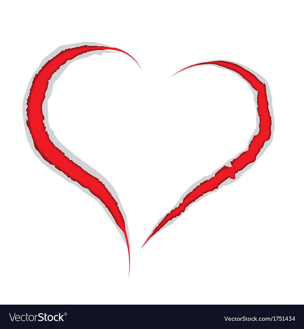Valentine love heart claws scratch vector