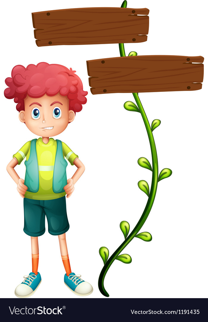 A boy at the back of a two-plank wooden signage vector