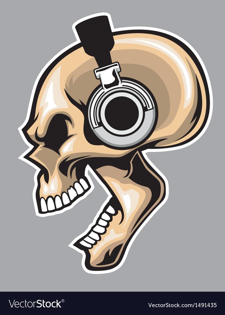 Screaming skull wearing headphone vector
