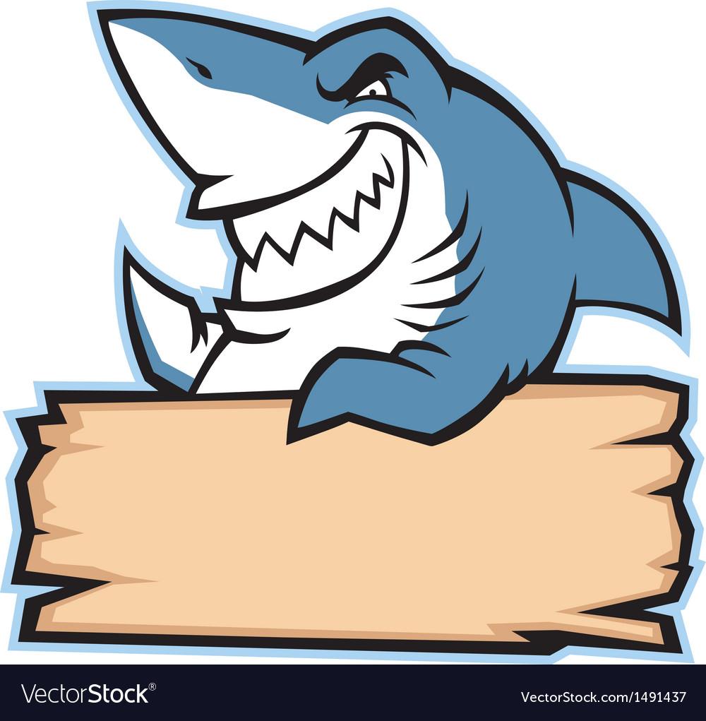 Shark hold wood sign vector