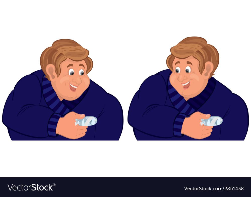 Happy cartoon man torso with injured finger vector