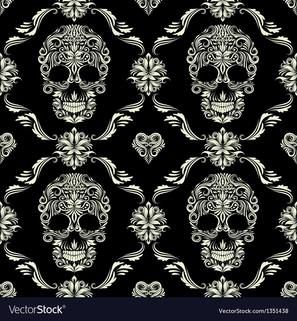 Skull ornamental pattern vector