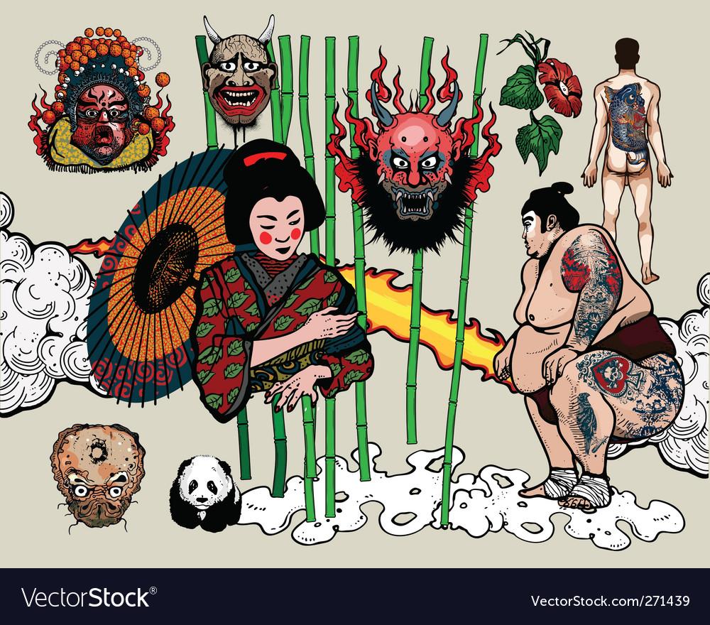 Japanese tattoo design vector