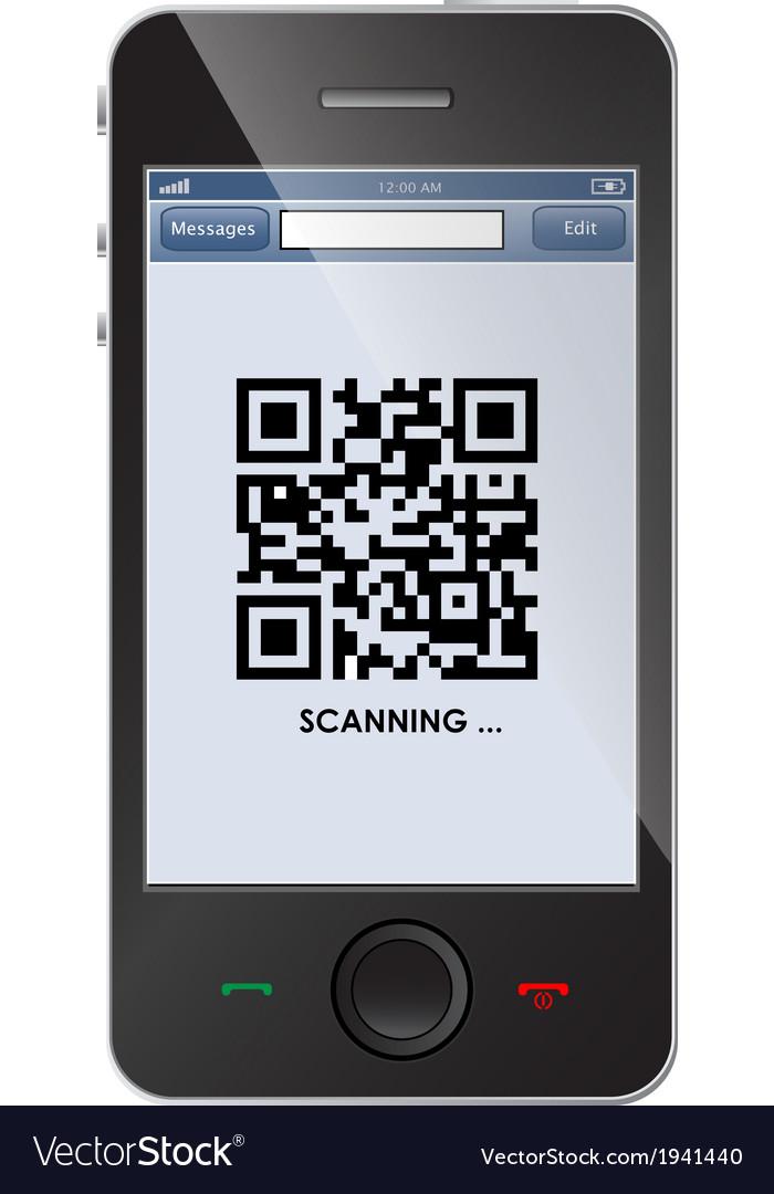 Qr code on smart phone vector