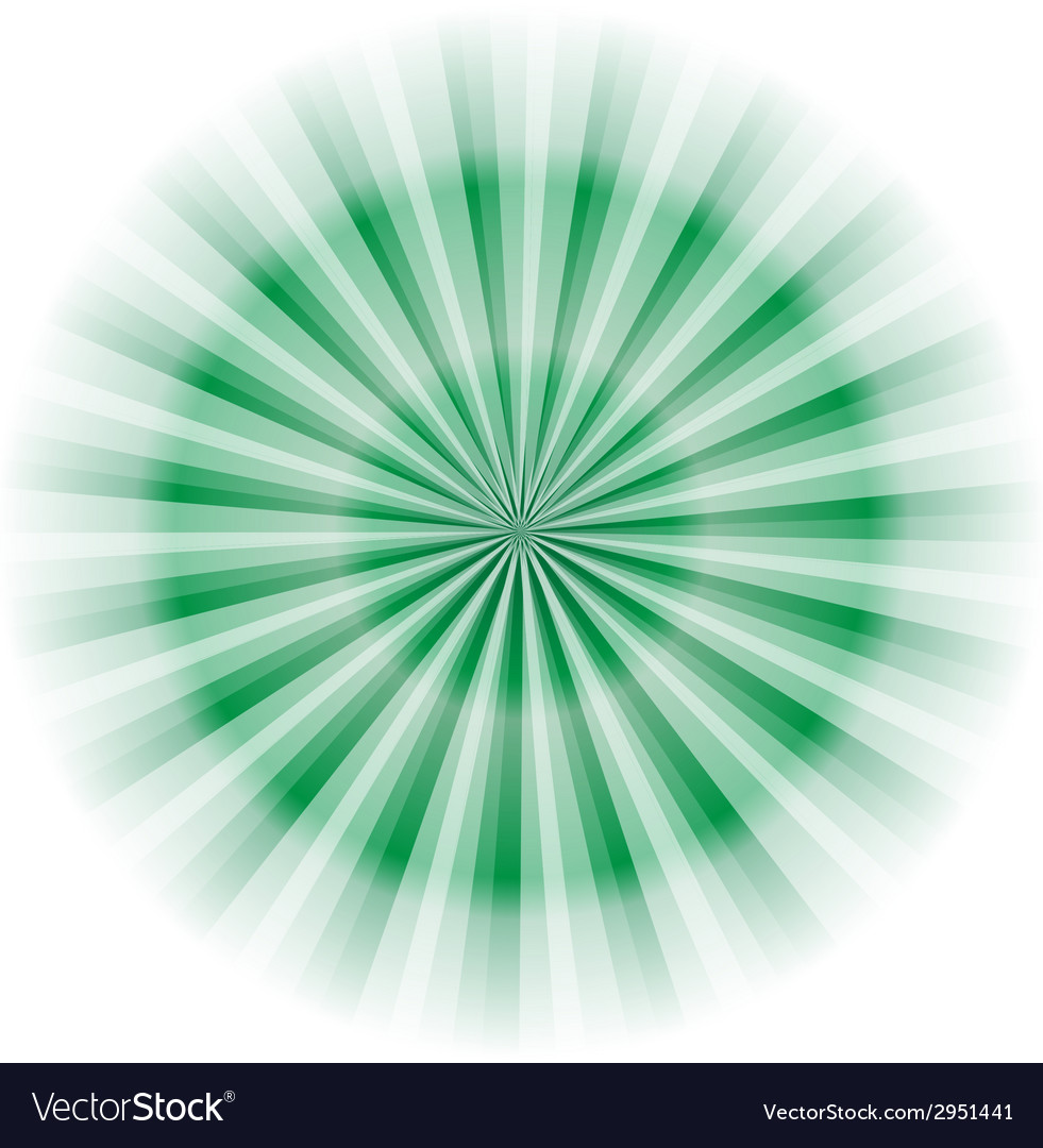 Green circle rays background vector