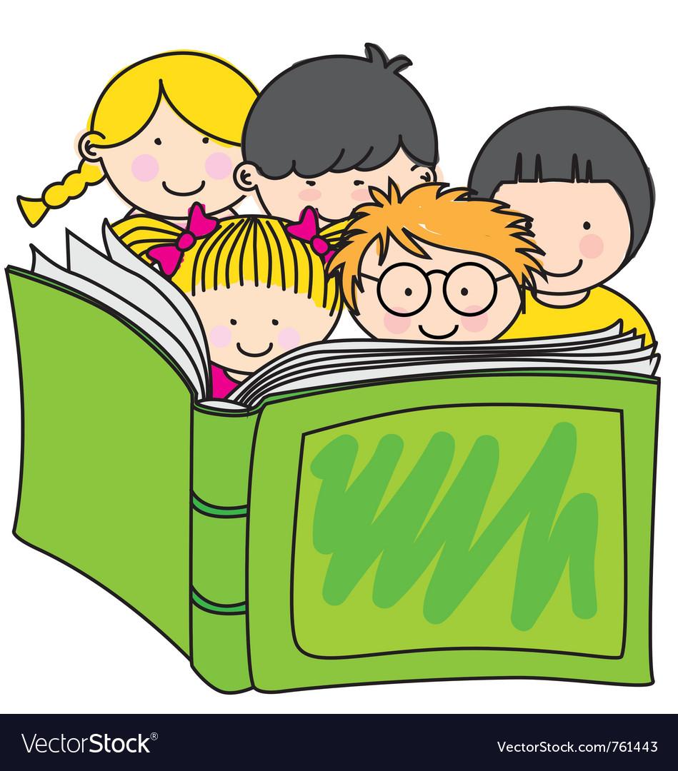Children reading a book vector