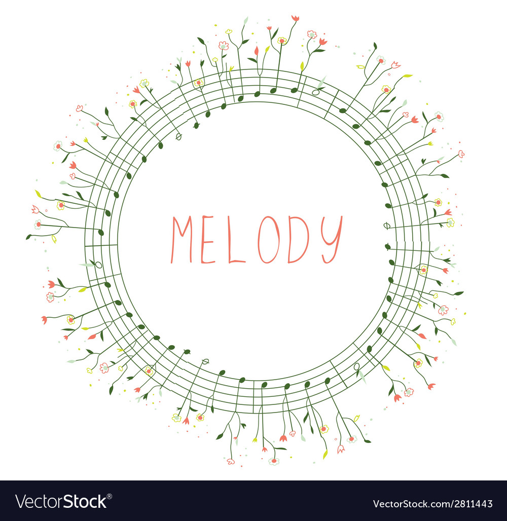 Musical frame with notes and flowers vector