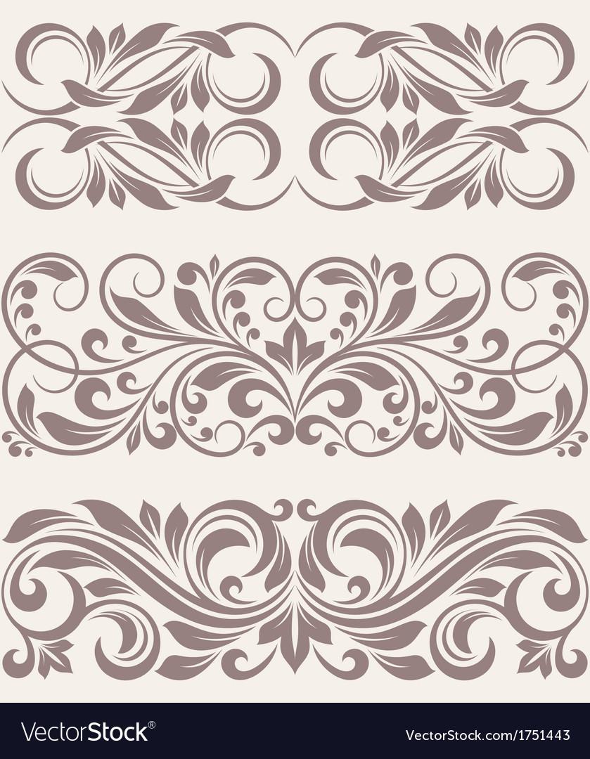 Set vintage ornate border frame filigree vector