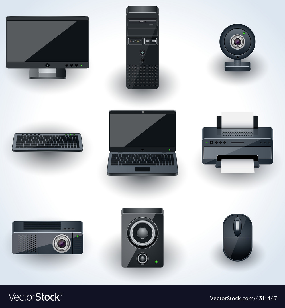 Computers and peripherals icons vector