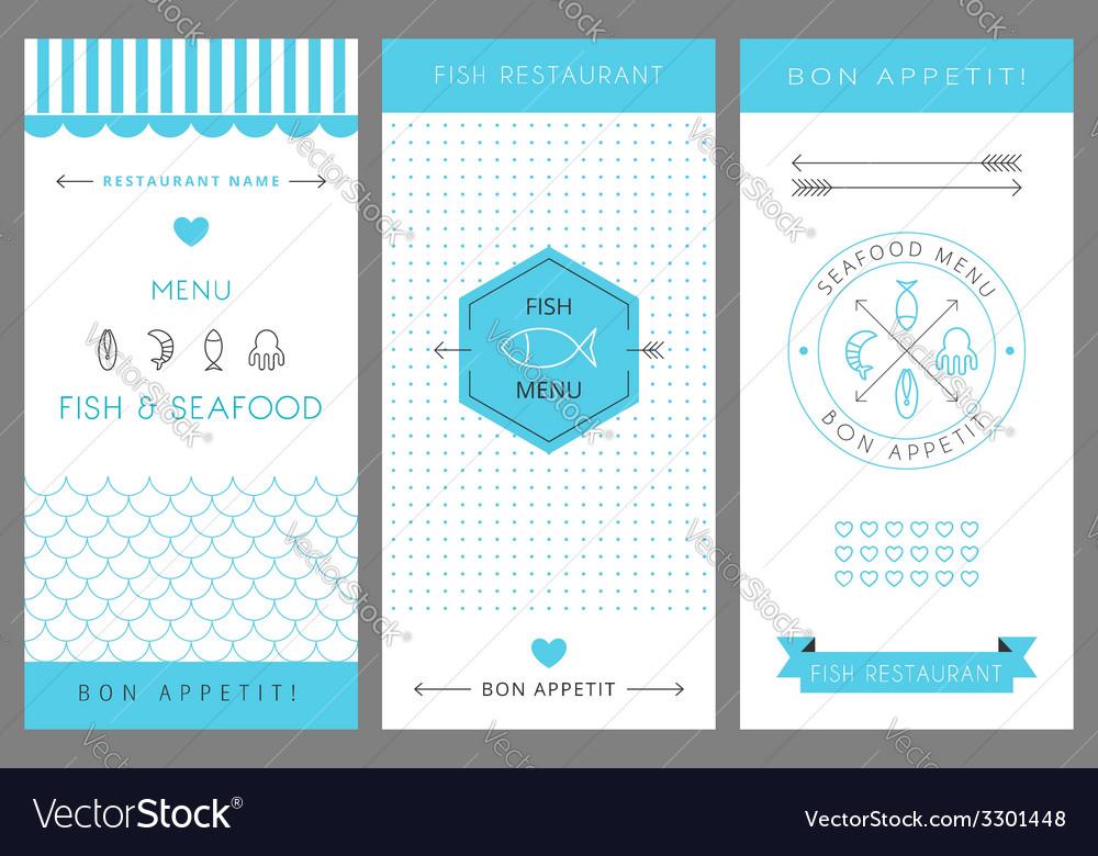 Restaurant menu design template seafood vector